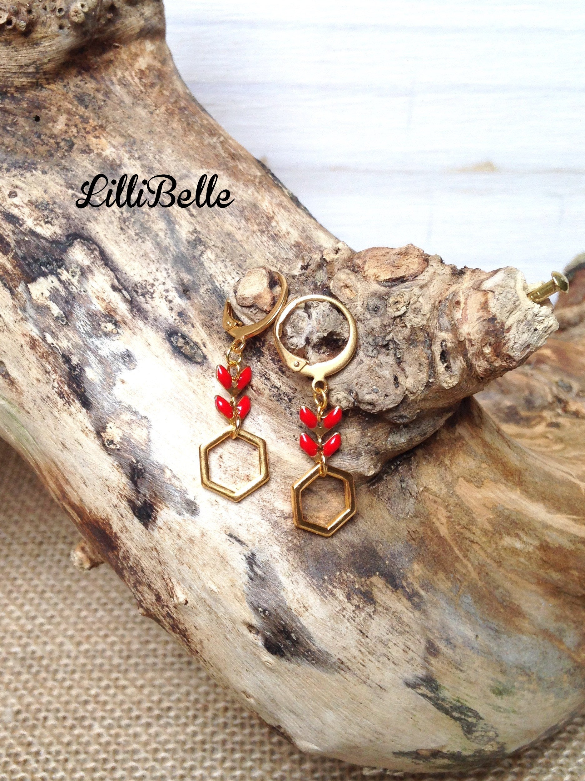 2ab7fa72f2677f Loops of golden ears, Hexagon and epi - jewelry gold, geometric,  minimalistic string, handmade