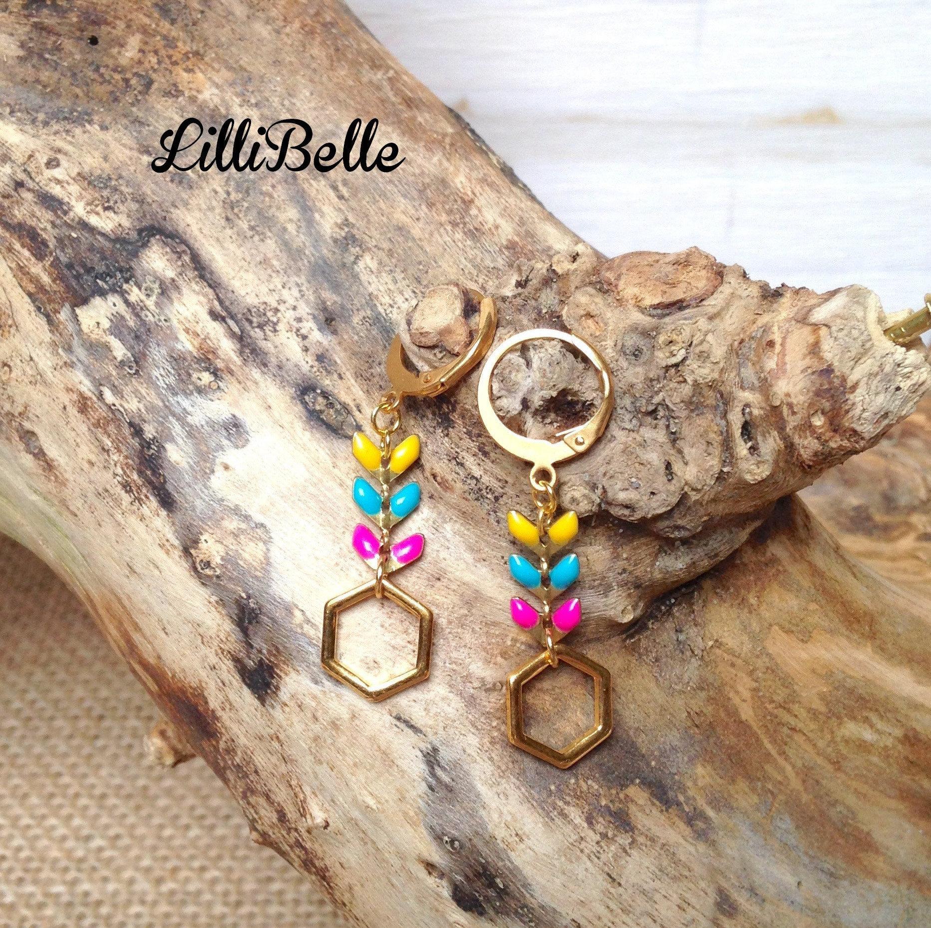 f2b9df70a01eee Gold Earrings, Hexagon and ear chain-jewelry Golden, geometric, minimalist,  handmade