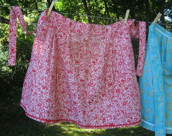 Red & White Vintage Apron, Handmade and Lovely
