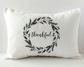 Thanksgiving Pillow - Thankful Pillow - Fall Pillow Cover - Decorative Throw Pillow Cover