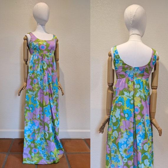 Vintage Floral Maxi dress 1960s/ 1970s Boho Hippie