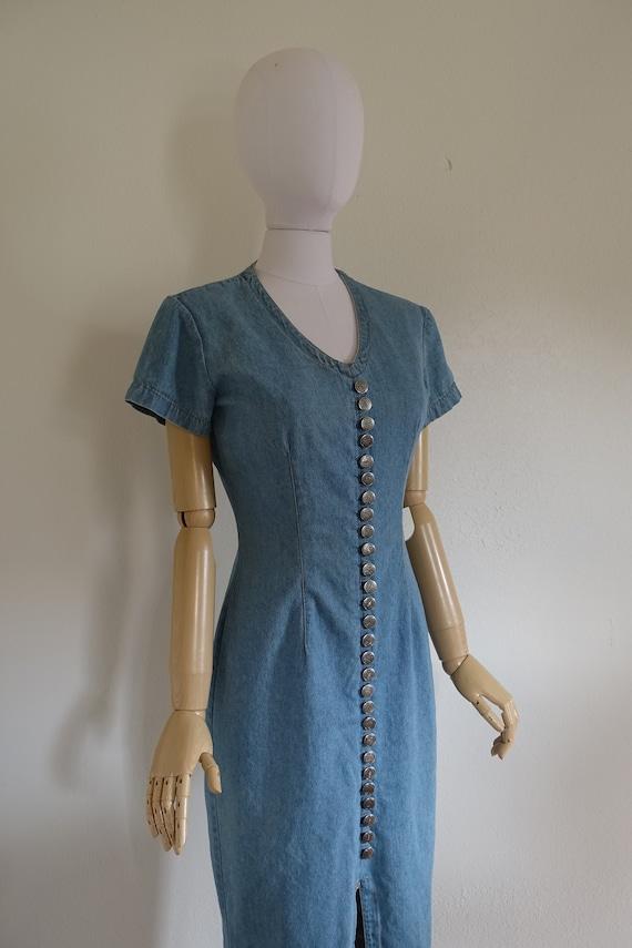 Vintage Denim Dress, 90's Bodycon