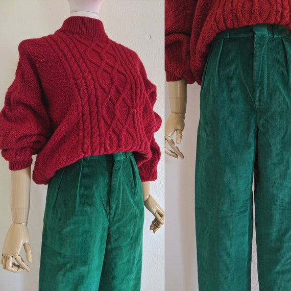 Vintage High Rise Pleated Corduroy Pants, XS
