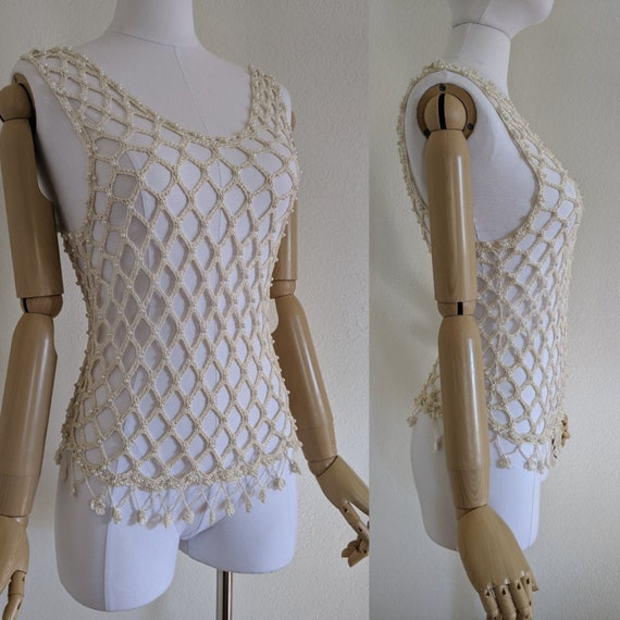 Vintage fishnet beaded top, Small