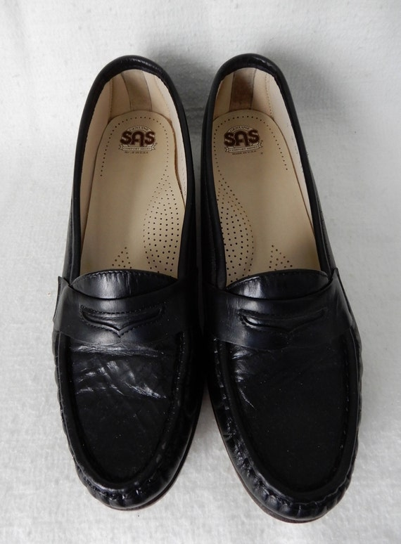 Black Leather SAS Penny Loafers