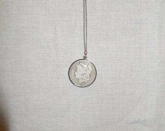 Silver Dollar Pendant Necklace