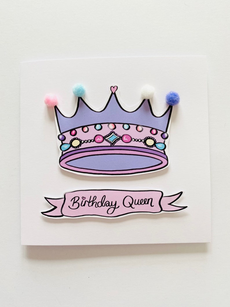 Funny Birthday Card Cards for Girls Birthday Queen Birthday Greetings Card Handmade Card Cute Birthday Card UK Gifts For Her