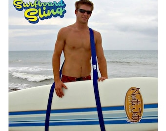 The Surfboard Carrier Sling makes it easy to carry your surfboard!