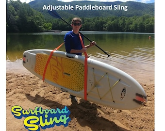 Paddleboard Carrier Sling is adjustable for carrying your stand up paddle board.