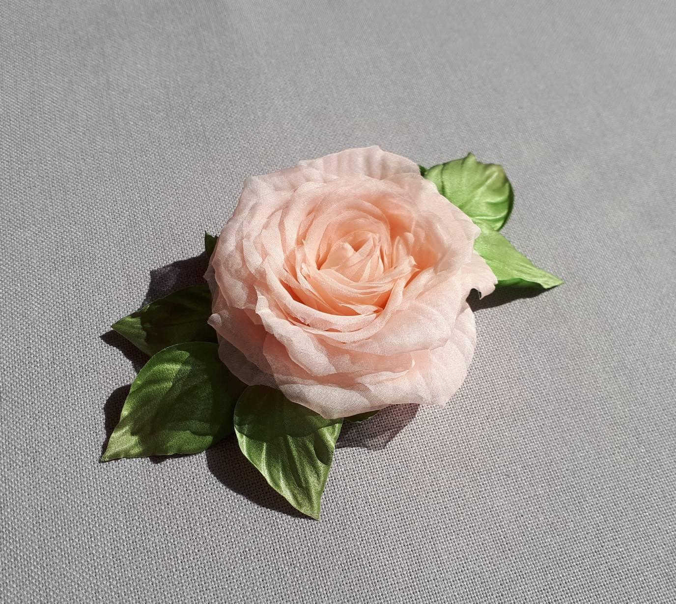 Silk Flower Brooch Rose Etsy