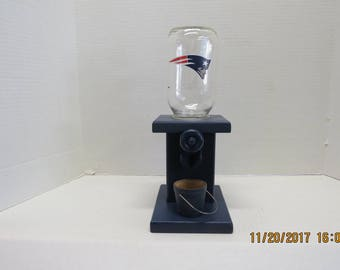 Handmade wooden gum ball / peanut / candy dispenser New England Patriots theme