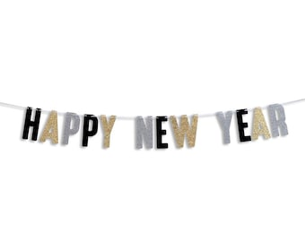 happy new year garland happy new year banner holiday banner new year decoration happy new year glitter garland
