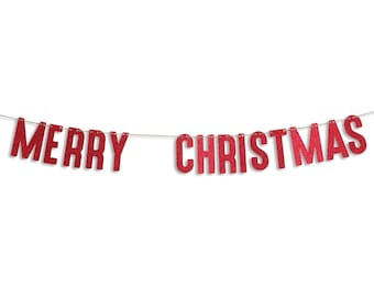 MERRY CHRISTMAS Garland, Merry Christmas Banner, Holiday Banner, Christmas decoration, Christmas Glitter Garland
