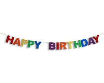 HAPPY BIRTHDAY Rainbow Banner, Happy Birthday Rainbow Garland, Rainbow Birthday Banner, Rainbow Birthday decoration