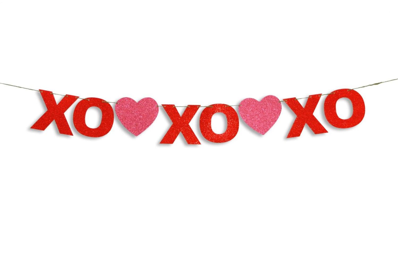 XOXOXO Garland Happy Valentines Day Banner Valentines Day ...