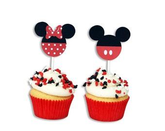 12 Minnie / Mickey Cupcake Toppers, Minnie Birthday, Mickey Birthday, First Birthday