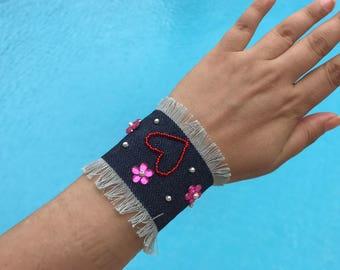 Hearted Bracelet, Denim Blue Jean Bracelet, Denim Bracelet Cuff ,Blue Jean Cuff Bracelet, Wristband, Bracelet, Jean Bracelet, Rock Style