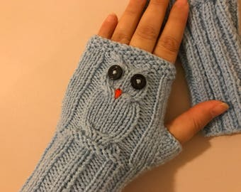 Fingerless Gloves, Owl, Owl Gloves, Knit Fingerless gloves, Arm warmers, Womens Fingerless, Mittens, Winter gloves, Boho Gloves, Christmas