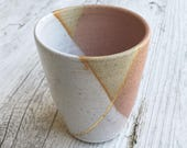 Handmade ceramics tumbler in pink with gold luster accent - gifts for her - gifts for christmas - gifts for sister - gifts for mum