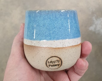 Stemless Re-usable Wine Cup Candle - Blue Large