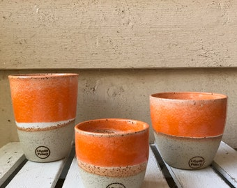 Handmade ceramic travel cup/tumbler orange and white  gifts for her - gifts for sister - gifts for mum - modern decor - latte cup - keep cup