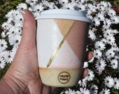 handmade ceramic tumbler/keep cup - white, & pink with gold detail - melbourne made - boho decor - gifts for her - gifts for mum