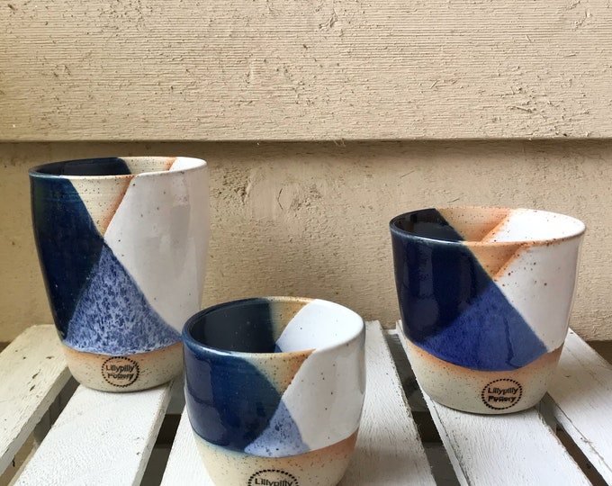 Handmade ceramic tumbler/Keep Cup Geometrix navy and white - gifts for her - gifts for sister - gifts for him - latte cup - rustic cup