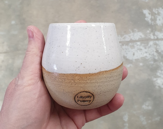 Stemless Re-usable Wine Cup Candle - White