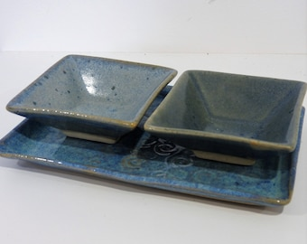 Handmade ceramic condiment set - blue - gifts for home gifts for her - christmas gifts - salt and pepper dish set - 3 piece set - kitchen