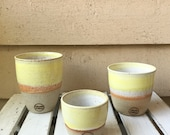 Handmade ceramic travel cup/tumbler yellow and white - gifts for her - gifts for mum - modern decor - latte cup - keep cup