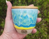 8oz Handmade Ceramic Keep Cup/Tumbler - blue and yellow - made in melbourne - gifts for her - gifts for mum - modern decor - keep cup