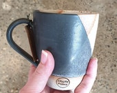 Handmade textured ceramic mug - black and white - Melbourne made - gifts for her - gifts for him - gifts for sister - rustic gifts