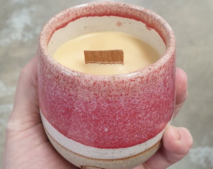 Stemless Re-usable Wine Cup Candle - Pink