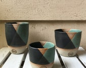 Handmade ceramic tumbler/Keep Cup Geometrix Green and Black- gifts for her - gifts for sister - gifts for him - latte cup - rustic cup