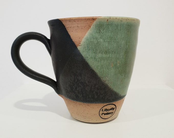 Handmade textured ceramic mug - black and green - Melbourne made - gifts for her - gifts for him - gifts for sister - rustic gifts