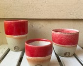 Handmade ceramic travel cup/tumbler red and white - gifts for her - gifts for sister - gifts for mum - modern decor - latte cup - keep cup