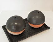 Handmade ceramic salt and pepper set - black - gifts for home gifts for her - christmas gifts - 3 piece set - kitchen