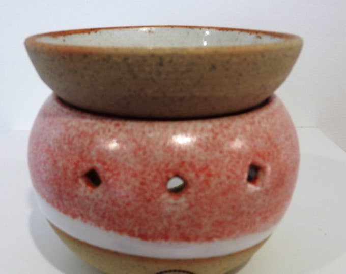 Stoneware Two-Piece Oil Burner in pink and white - gifts for her - gifts for Christmas - boho decor - handmade ceramics