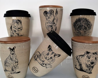 Handmade Aussie Animal Ceramic Travel Cup/Tumbler  - gifts for her - gifts for sister - gifts for mum - modern decor - latte cup - keep cup