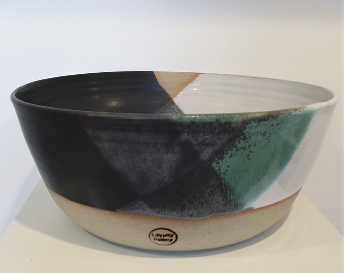 Handmade ceramic serving bowl - large - black, white and green -melbourne made - gifts for her gifts for him gifts for mum modern decor