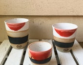 Handmade ceramic tumbler/Keep Cup with red Dip Dye design - gifts for her - gifts for sister - gifts for him - latte cup - rustic cup
