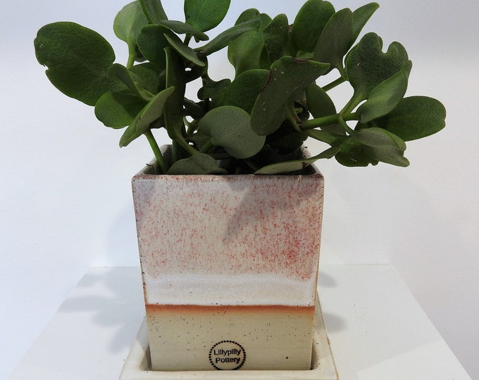 Handmade Ceramic Planter with Saucer - square - pink and white - gifts for her - gifts for the home - garden gifts - indoor outdoor planter