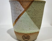 Handmade ceramic travel cup/tumbler green & white with gold lustre - gifts for her - gifts for mum - christmas gift - latte cup - keep cup