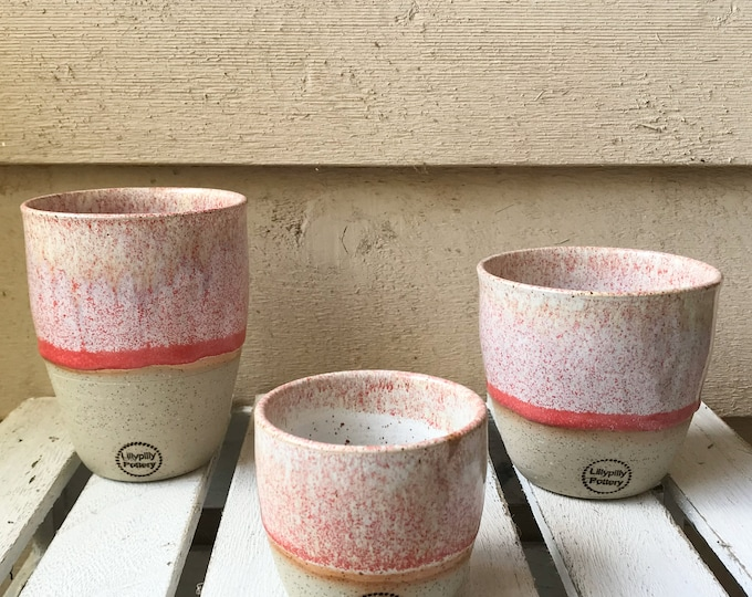 Handmade Ceramic Keep Cup/Tumbler -Pink and white - made in melbourne - gifts for her - gifts for mum - modern decor - keep cup