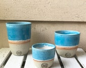 Handmade Ceramic Keep Cup/Tumbler -Blue and white - made in melbourne - gifts for her - gifts for mum - modern decor - keep cup