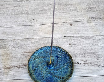 Handmade ceramic incense holder with pattern inlay - round - blue - gifts for her - gifts for home - gifts for mum - made in australia