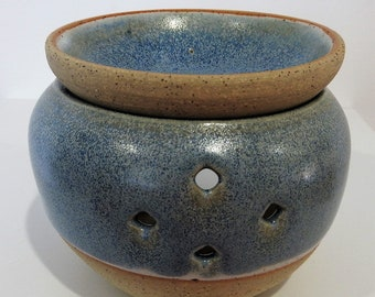 Stoneware Two-Piece Oil Burner in blue and white - gifts for her - gifts for Christmas - boho decor - handmade ceramics