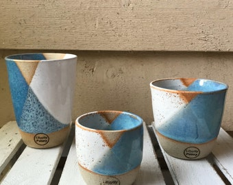 Handmade Ceramic Keep Cup/Tumbler - Geometrix design in white and light blue made in melbourne - gifts for mum - modern decor - keep cup