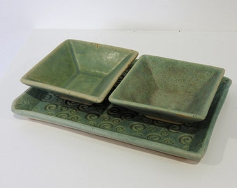 Handmade ceramic condiment set - green - gifts for home gifts for her - christmas gifts - salt and pepper dish set - 3 piece set - kitchen
