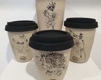 Handmade Australian Flowers Ceramic Travel Cup/Tumbler  - gifts for her - gifts for mum - modern decor - latte cup - keep cup
